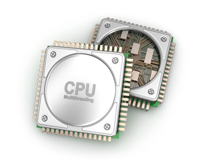 Central computer processors CPU isolated on white background . 3D illustration