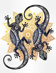 Gecko ornate lizard in zentangle style.