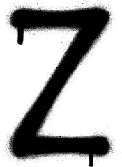 sprayed Z font graffiti with leak in black over white