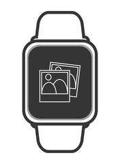 flat design single smartwatch with photograph icon vector illustration