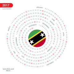 2017 Calendar, Saint Kitts and Nevis Country Flag Circle Button banner, spiral illustration, swiral shape, calendar cover template, Happy new Year calendar. vector illustration