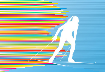 Skiing woman abstract vector illustration with colorful stripes