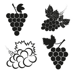 Vector set of abstract grapes icons.