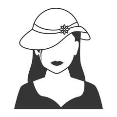 woman profile silhouette icon vector illustration