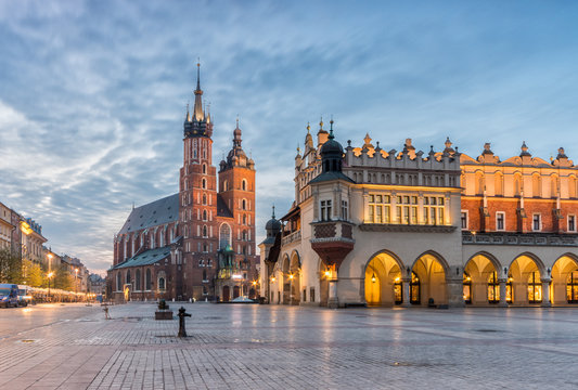 St Mary's church and Cloth Hall on Main Market Square in Krakow, illuminated in the night