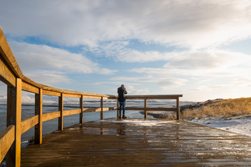 Man taking photographs in Iceland