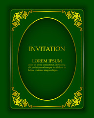 Vector vintage background in a luxurious royal style with oriental gold ornaments. Template to create invitations, greeting cards, covers.