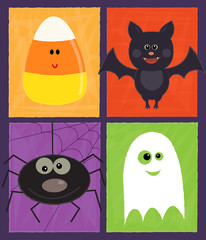 Halloween Design - Cute Halloween design with ghost, spider, candy corn and a bat. Eps10