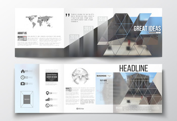 Set of tri-fold brochures, square design templates. Polygonal background, blurred image, urban landscape, modern stylish triangular vector texture.