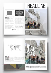 Set of business templates for brochure, magazine, flyer, booklet or annual report. Polygonal background, blurred image, cathedral Sakre-Ker, Paris cityscape, modern triangular vector texture