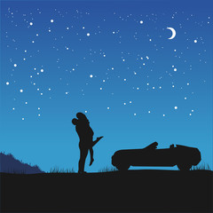 couple in love in hug standing next to their car under night sky with stars and crescent