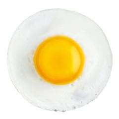 Photo sur Aluminium Ouf Fried egg isolated on white