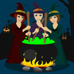 three halloween young witches making potion