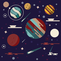 Planets in space vector illustration. Abstract planets icon in flat style. Planets galaxy on dark background. Comets, stars, meteors and other universe symbols.
