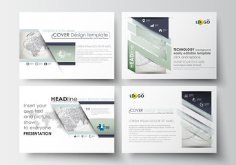 Set of business templates for presentation slides. Easy editable layouts in flat design. Dotted world globe with abstract construction and polygonal molecules on gray background, vector illustration