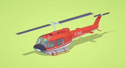 Fire helicopter against the green background. 3D lowpoly isometric vector illustration