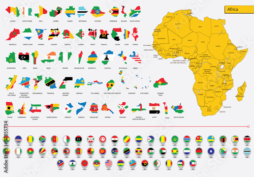 Cards African flags and icons