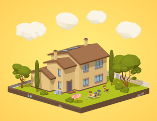 Barbecue in the backyard. 3D lowpoly isometric vector concept illustration