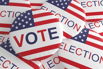 Pile Of US Election And Vote Badges, 3d illustration