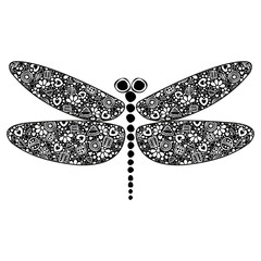 Vector black and white ornamental decorative illustration of dragonfly, isolated on the white background.