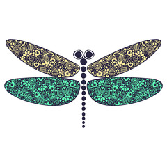 Vector colorful ornamental decorative illustration of dragonfly, isolated on the white background.
