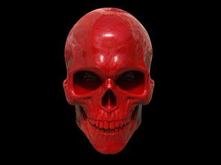 Red metallic skull - 3D Illustration