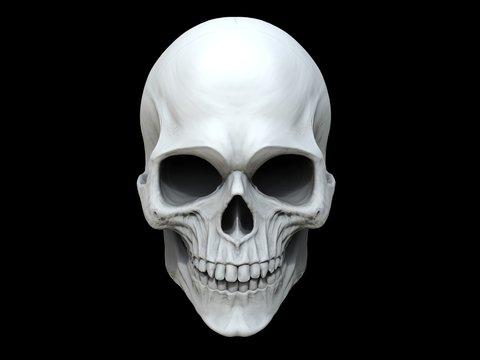 White clay skull - 3D Illustration
