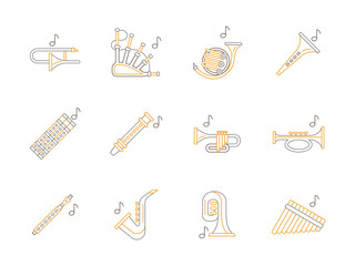Woodwind music instruments flat line vector icons