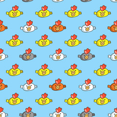 Decorative seamless pattern with funny cocks