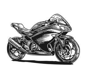 Motorcycle. Vector engraved illustration