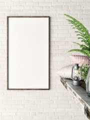 White vertical mock up frame, hipster background, 3d illustration
