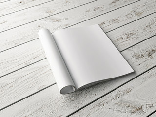 Empty mock up magazine on white wooden floor, 3d illustration