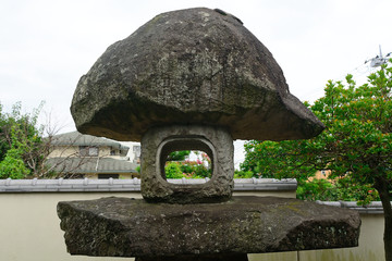 Stone lantern at Nanzo-in Buddhist temple, Tokyo,Japan