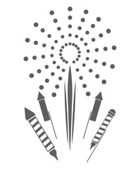 firework celebration explosion icon. Isolated and silhouette illustration. Black and White colored. Vector graphic