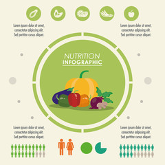 Nutrition and Healthy food concept represented by Infographic icon. Colorfull and flat illustration.