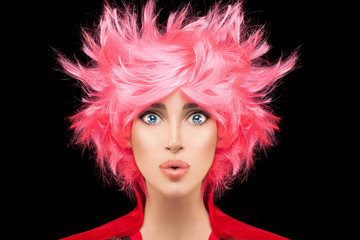Fashion model girl with trendy dyed pink hair