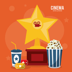 soda pop corn ticket trophy movie film going to cinema icon. Colorfull illustration. Vector graphic