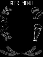 Hand drawn beer menu template on black background.