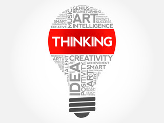 Thinking bulb word cloud collage, concept background