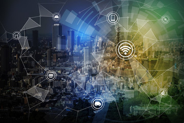 Fototapete - smart city and wireless communication network, IoT(Internet of Things),CPS(Cyber-Physical Systems), ICT(Information Communication Technology), abstract image visual