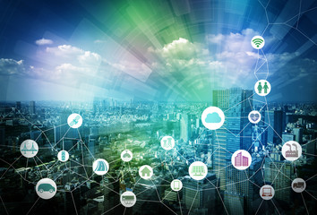 smart city and internet of things, various communication devices, architecture, transportation, industry, infrastructure,medical, home electronics, smart grid, abstract image visual Fotoväggar