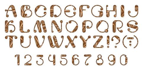 Буквы и цифры латинского алфавита, составленные из кусочков разных оттенков коричневого цвета.