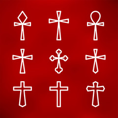 Thin line icons set of crosses.