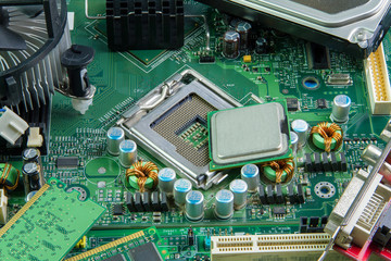 image of the motherboard and PC processor closeup.
