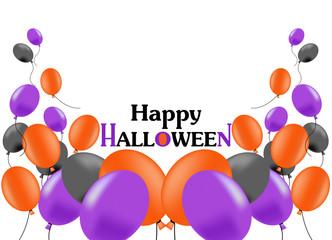 風船、バルーン、ハロウィン、ハロウィーン、黒、紫、オレンジ、スペース、横長、余白、白バック、