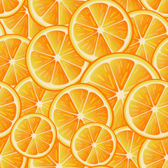 Citrus seamless pattern. Seamless pattern of oranges slices. Fruit collection.