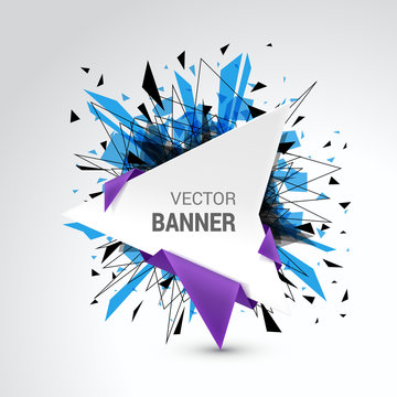 Origami vector banner. White banner wrapped with colored paper.