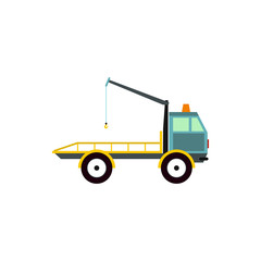 Tow truck for transportation cars icon in flat style isolated on white background