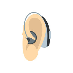 Ear with hearing aid icon in flat style on a white background