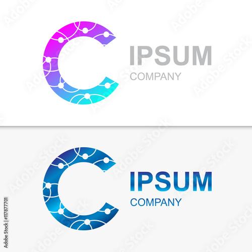 C Letter Logo Icon Templateom Connectivitytechnologymolecule